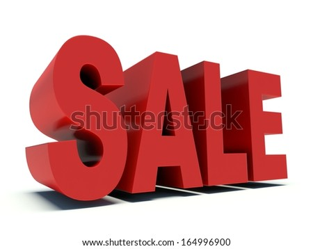 Advertising word Sale. 3d render illustration.