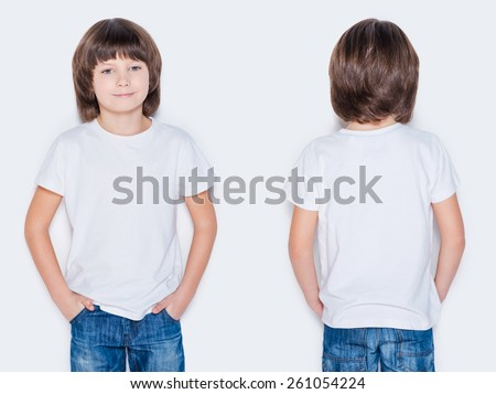 Advertising your brand. Front and rear view of little boy holding hands in pockets while standing against white background