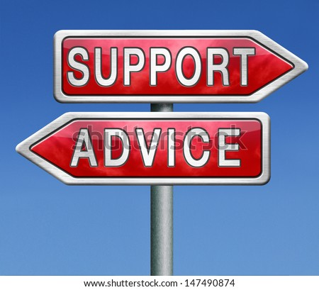 advice and support online help desk warning sign - stock photo