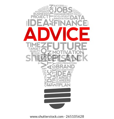 ADVICE bulb word cloud, business concept - stock photo