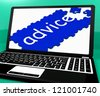 Advice Puzzle On Notebook Shows Online Advisory And Website's Assistance - stock photo