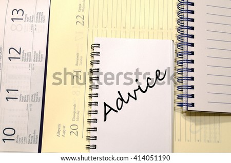 Advice text concept write on notebook