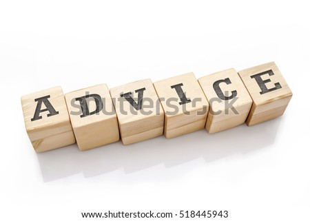 ADVICE word made with building blocks isolated on white