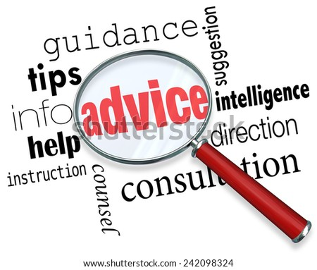 Advice word under a magnifying glass to illustrate searching for and finding support, tips, guidance, service, information, help, instruction and direction - stock photo
