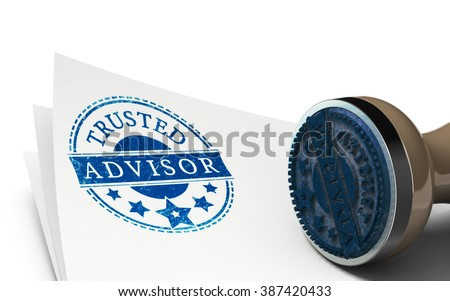 Advisor rubber stamp imprinted on a sheet of paper over white background. Concept of trust and business consulting.