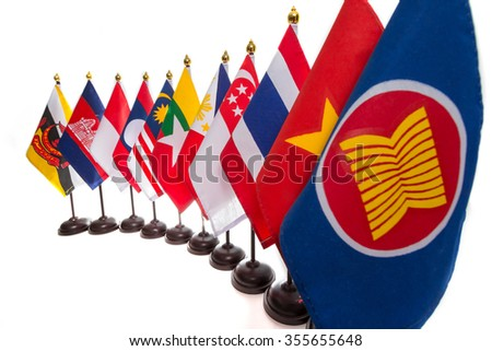 AEC, Ten countries flags in the ASEAN region. - stock photo