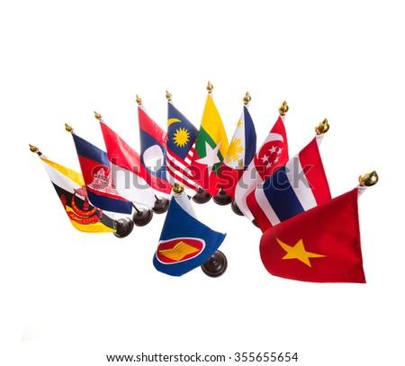 AEC, Ten countries flags in the ASEAN region. - stock photo
