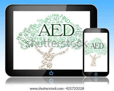 Aed Currency Representing United Arab Emirates And Worldwide Trading - stock photo