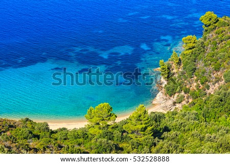 Aegean sea coast landscape with sandy beach (Chalkidiki, Greece).