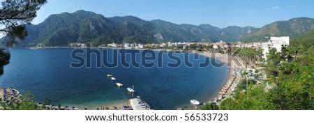 aegean sea landscape panorama of marmaris resort turkey - stock photo