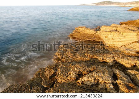 Aegean shore in Greece, Thassos island - waves and rocks - long exposure photography