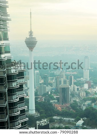 Aeial view of Kuala Lumpur from Petronas Twin Tower at sunset - stock photo