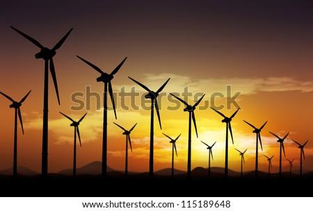 Aeolian field and  wind turbines - stock photo