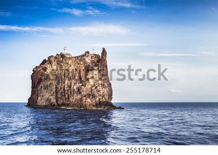 Aeolian islands view from the sea in a cloudy day. - stock photo