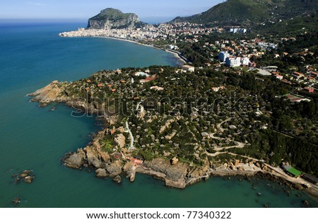 aereal wiew of Cefalu, Palermo, Sicily, Italy - stock photo