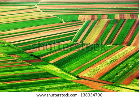 Aerial abstract view of a country agricultural landscape - stock photo