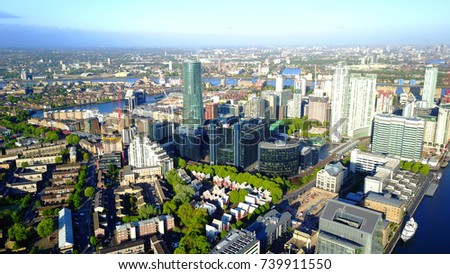 Aerial Birds Eye View Photo Taken By Drone Of Famous Canary Wharf Skyscraper Complex Isle