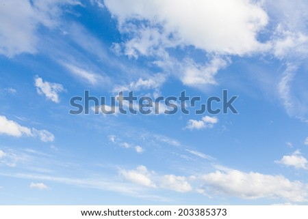 Aerial blue sky and white clouds background