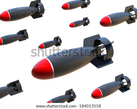 aerial bombs on a white background  - stock photo