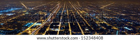 Aerial city night view panorama of Chicago, IL, USA - stock photo