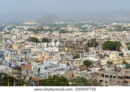 aerial city view of Udaipur, located in Rajasthan, India