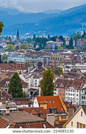 Aerial cityscape of Lucerne from city wall, Lucerne, Switzerland - stock photo