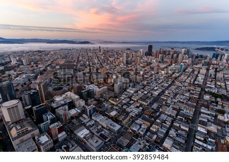 Aerial cityscape of San Francisco at sunset - stock photo