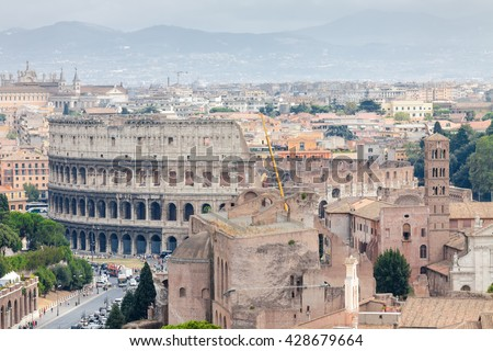 Aerial cityscape view of central Rome from Vittoriano palace, Lazio region, Italy.