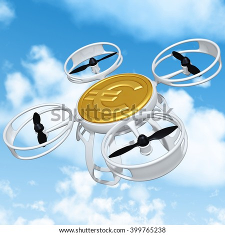 Aerial Drone 3D Illustration Concept  - stock photo
