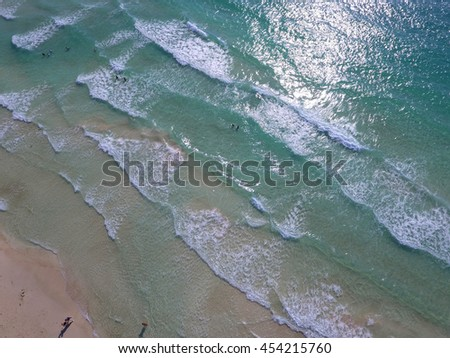 Aerial drone image of Miami Beach shores - stock photo