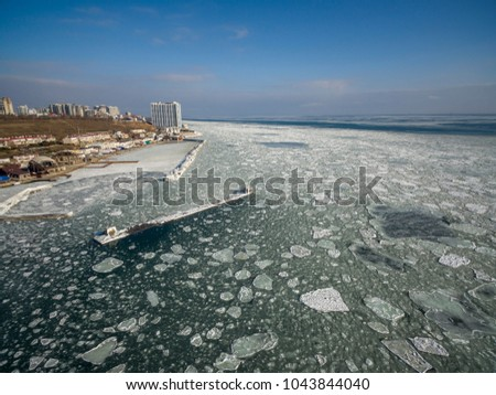 Aerial drone image of the Black Sea frozen at 12 Station Beach in Odessa Ukraine.