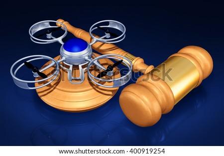 Aerial Drone Legislation Legal 3D Illustration Concept  - stock photo