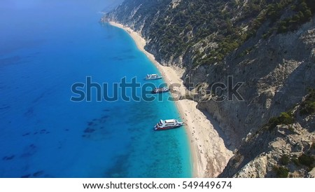 Aerial drone photo of iconic Egremnoi beach with turquoise clear waters, Lefkada island, Ionian, Greece