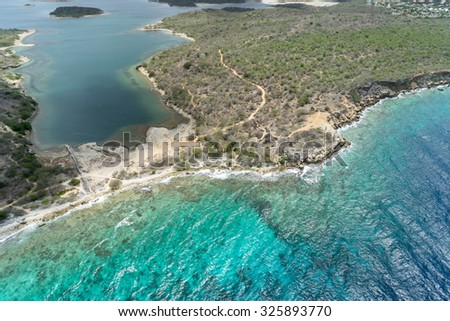Aerial from a helicopter - Views around Curacao a Caribbean Island  - stock photo