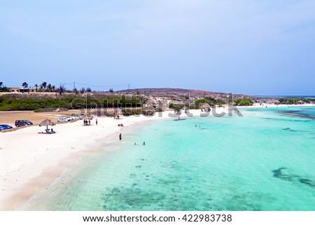 Aerial from Baby beach on Aruba island in the Caribbean - stock photo