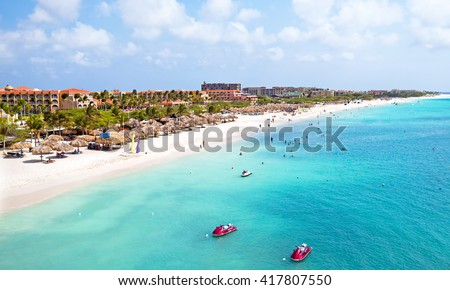 Aerial from Eagle beach on Aruba in the Caribbean - stock photo