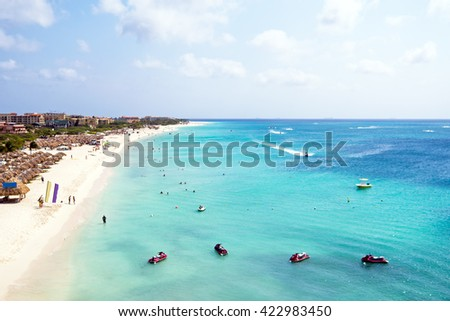 Aerial from Eagle beach on Aruba island in the Caribbean - stock photo