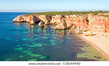 Aerial from famous beach Praia da Marinha in the Algarve Portugal