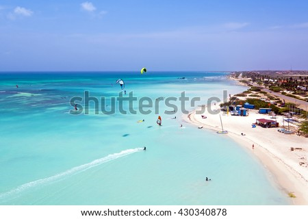 Aerial from kite surfing on Aruba island in the Caribbean Sea - stock photo