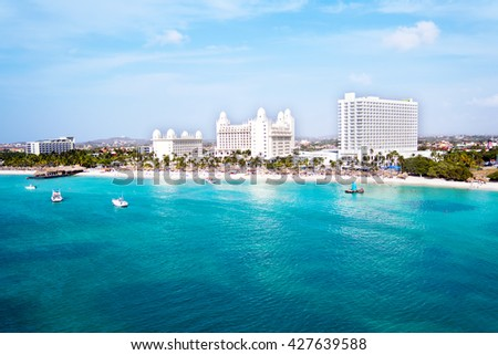 Aerial from Palm Beach on Aruba island in the Caribbean Sea