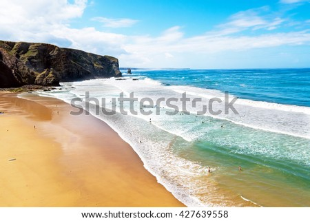 Aerial from surfing on Arrifana in Portugal - stock photo