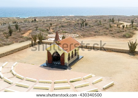 Aerial from the Alto Vista Chapel on Aruba island in the Caribbean - stock photo