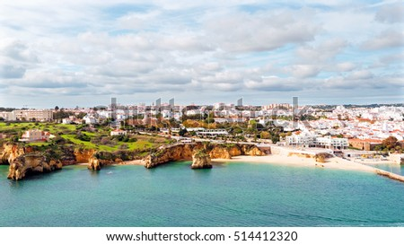 Aerial from the city Lagos in the Algarve in Portugal