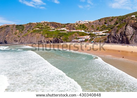 Aerial from the village Arrifana in Portugal - stock photo