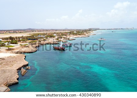 Aerial from the west coast from Aruba island in the Caribbean Sea - stock photo