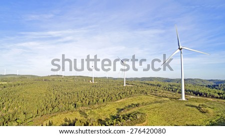 Aerial from windmills in the countryside from Portugal - stock photo