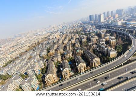 Aerial Hangzhou urban residential areas - stock photo