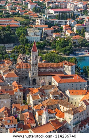 Aerial helicopter shoot of Trogir old town panorama. Croatian tourist destination. - stock photo