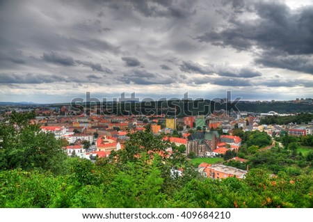 Aerial high dynamic range photo of the city of Brno, Czech Republic on a cloudy day - stock photo
