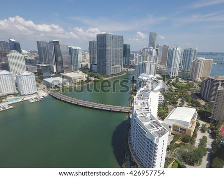 Aerial image Brickell and Downtown Miami Florida - stock photo